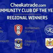The badges of the regional community club of the year winners